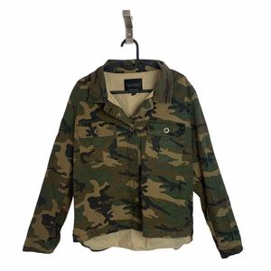 Sanctuary Rip Stop Green Camo Jacket Button Front